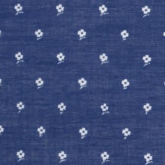 コットン×フラワー(マリンブルー)×ボイル_全2色 サムネイル1