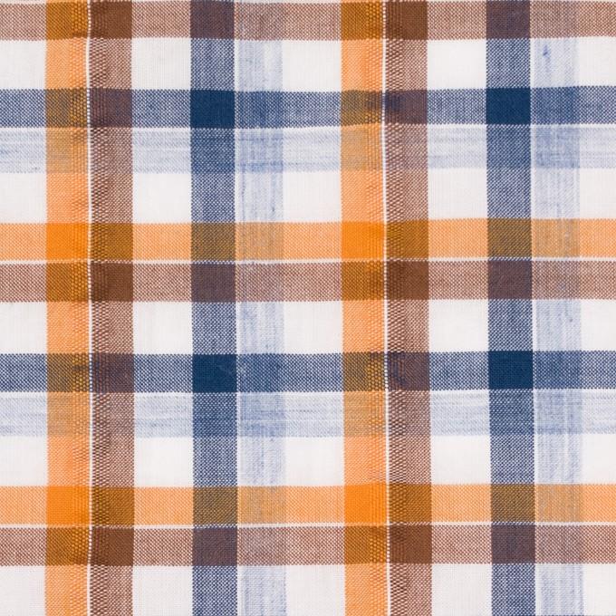 コットン×チェック(オレンジ&ブラウン)×サッカー_全3色 イメージ1
