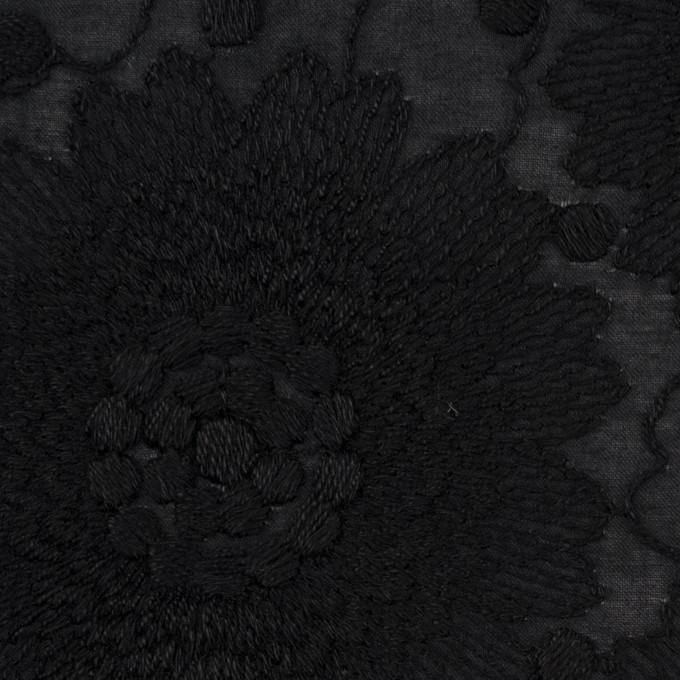 コットン×フラワー(ブラック)×ローン刺繍_全3色 イメージ1