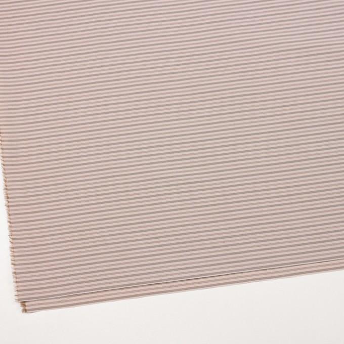 コットン&ナイロン×ボーダー(ピンクベージュ&カーキブラウン)×ブロード_イタリア製 イメージ2