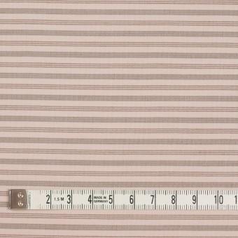コットン&ナイロン×ボーダー(ピンクベージュ&カーキブラウン)×ブロード_イタリア製 サムネイル4