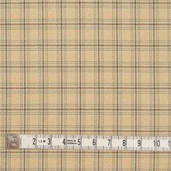 ビスコース&ウール混×チェック(カスタード、ブラウン&スレートグリーン)×ジョーゼット_イタリア製 サムネイル4