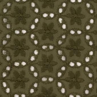 コットン×フラワー(カーキグリーン)×ローン刺繍_全3色 サムネイル1