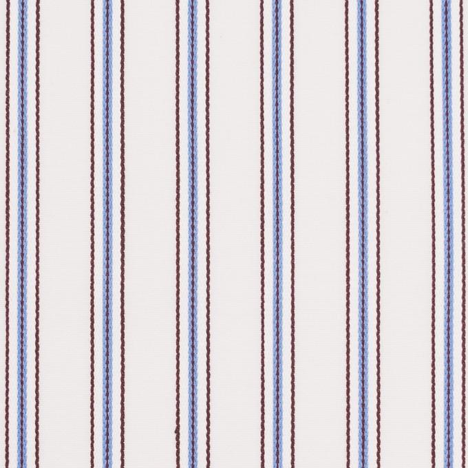コットン×ストライプ(オフホワイト、サックス&ブラウン)×ドビーブロード イメージ1