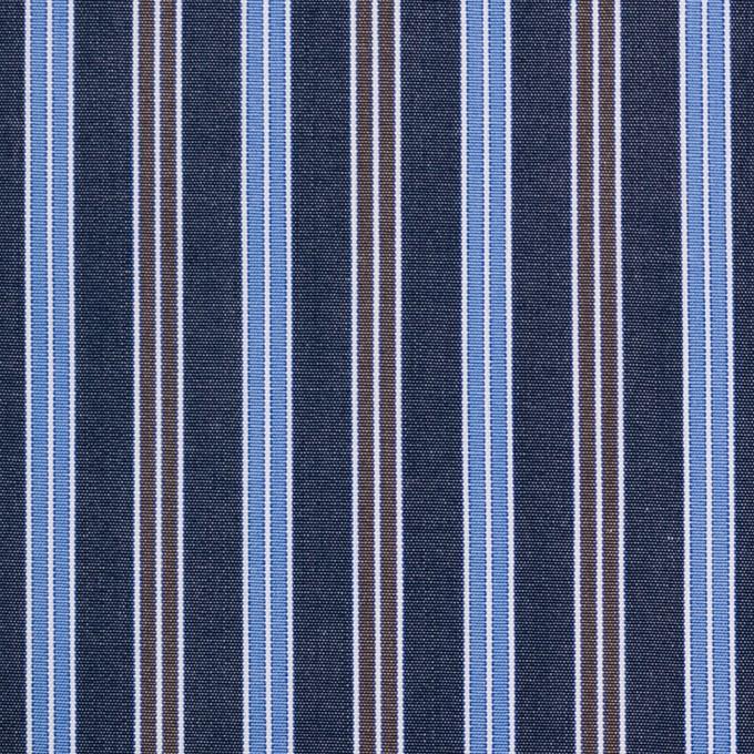 コットン×ストライプ(スチールグレー、サックス&ブラウン)×ブロード イメージ1