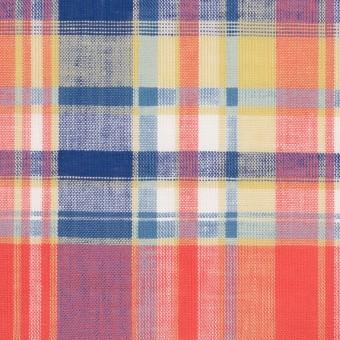 コットン×チェック(スカーレット、シトロン&ブルー)×薄シーチング サムネイル1