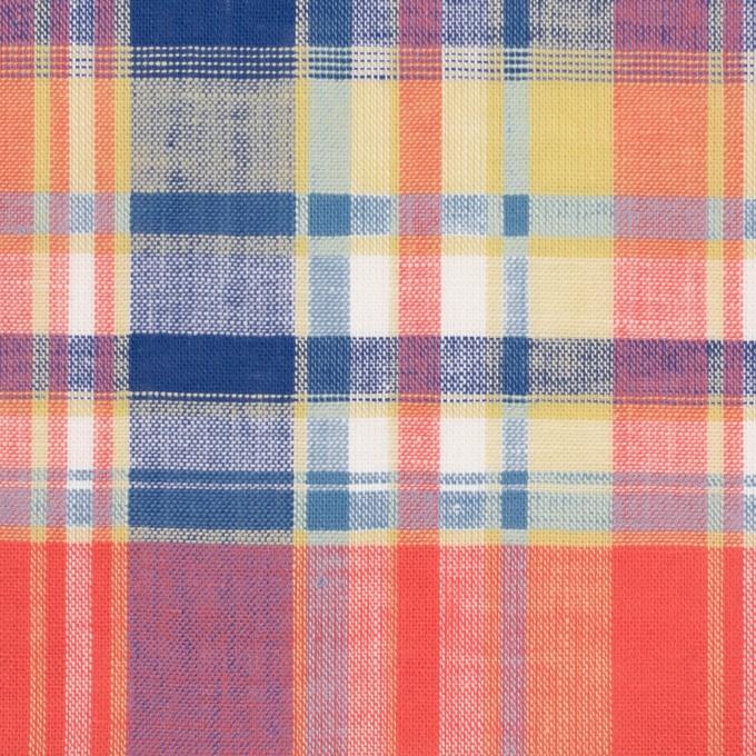 コットン×チェック(スカーレット、シトロン&ブルー)×薄シーチング イメージ1