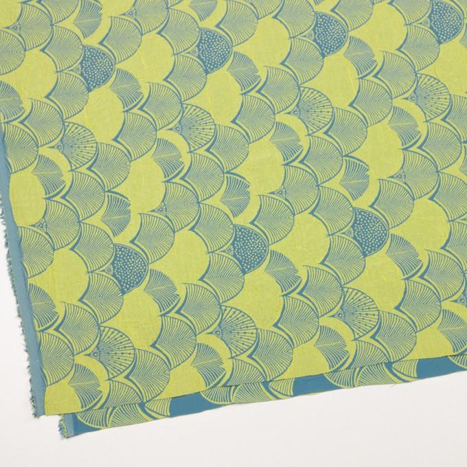 レーヨン&アセテート×幾何学模様(レモンイエロー&ブルーグレー)×風通織_全3色 イメージ2