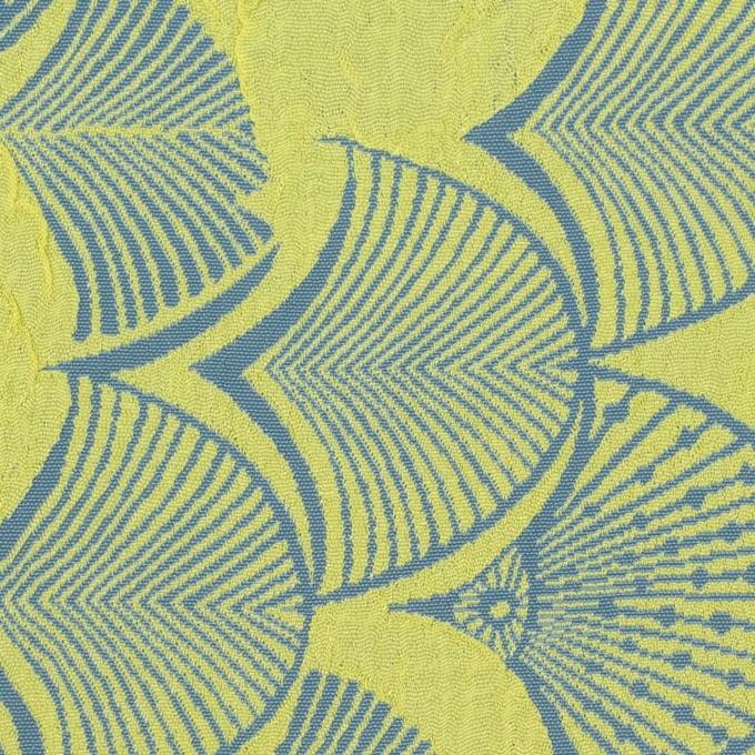 レーヨン&アセテート×幾何学模様(レモンイエロー&ブルーグレー)×風通織_全3色 イメージ1