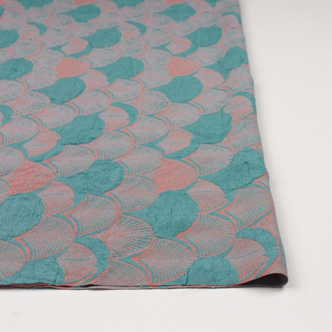 レーヨン&アセテート×幾何学模様(エメラルド&コーラル)×風通織_全3色 イメージ3