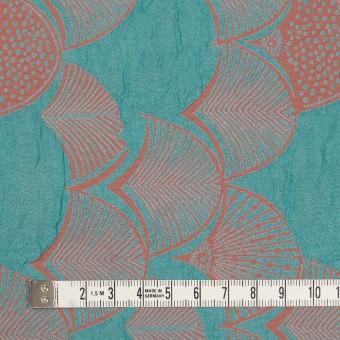 レーヨン&アセテート×幾何学模様(エメラルド&コーラル)×風通織_全3色 サムネイル4