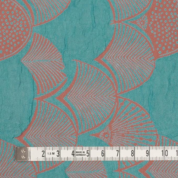 レーヨン&アセテート×幾何学模様(エメラルド&コーラル)×風通織_全3色 イメージ4