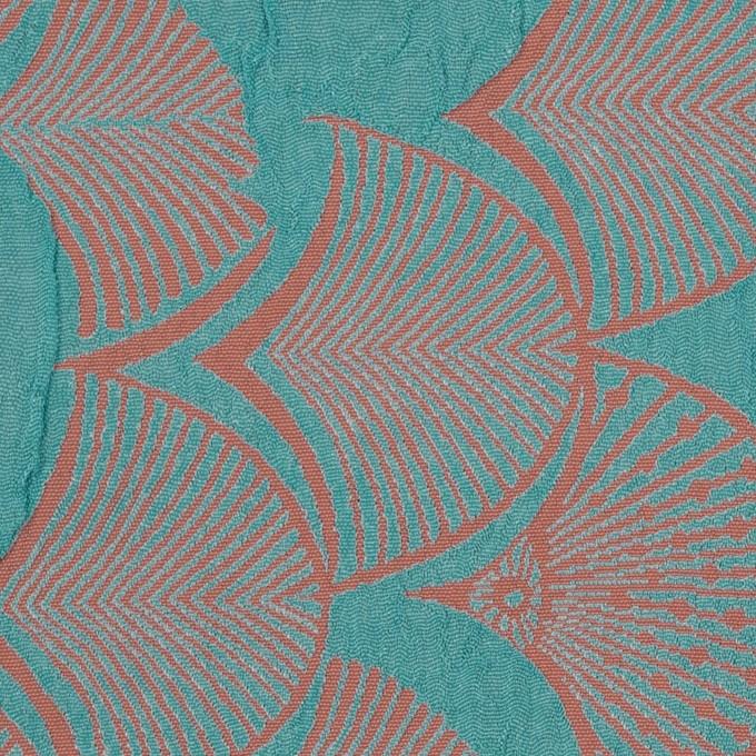 レーヨン&アセテート×幾何学模様(エメラルド&コーラル)×風通織_全3色 イメージ1