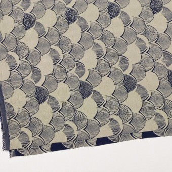 レーヨン&アセテート×幾何学模様(グレイッシュベージュ&ネイビー)×風通織_全3色 サムネイル2