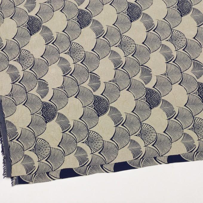 レーヨン&アセテート×幾何学模様(グレイッシュベージュ&ネイビー)×風通織_全3色 イメージ2