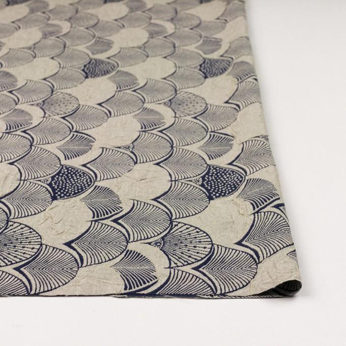 レーヨン&アセテート×幾何学模様(グレイッシュベージュ&ネイビー)×風通織_全3色 イメージ3