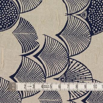 レーヨン&アセテート×幾何学模様(グレイッシュベージュ&ネイビー)×風通織_全3色 サムネイル4