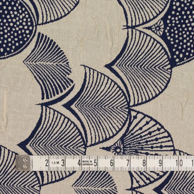 レーヨン&アセテート×幾何学模様(グレイッシュベージュ&ネイビー)×風通織_全3色 イメージ4