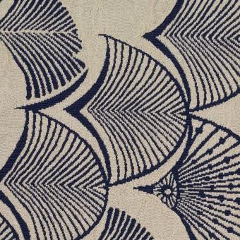 レーヨン&アセテート×幾何学模様(グレイッシュベージュ&ネイビー)×風通織_全3色 サムネイル1