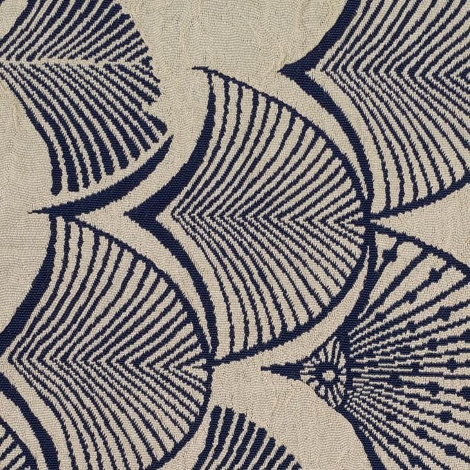 レーヨン&アセテート×幾何学模様(グレイッシュベージュ&ネイビー)×風通織_全3色 イメージ1