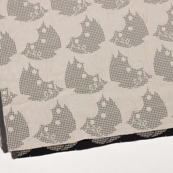 レーヨン&アセテート×幾何学模様(バニラ&ブラック)×風通織 サムネイル2