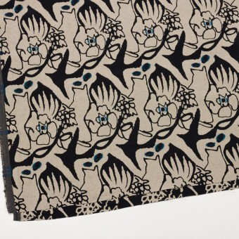 レーヨン&アセテート混×幾何学模様(キナリ&ブラック)×風通織カットジャガード サムネイル2