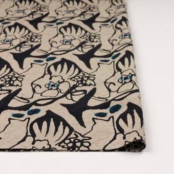 レーヨン&アセテート混×幾何学模様(キナリ&ブラック)×風通織カットジャガード サムネイル3