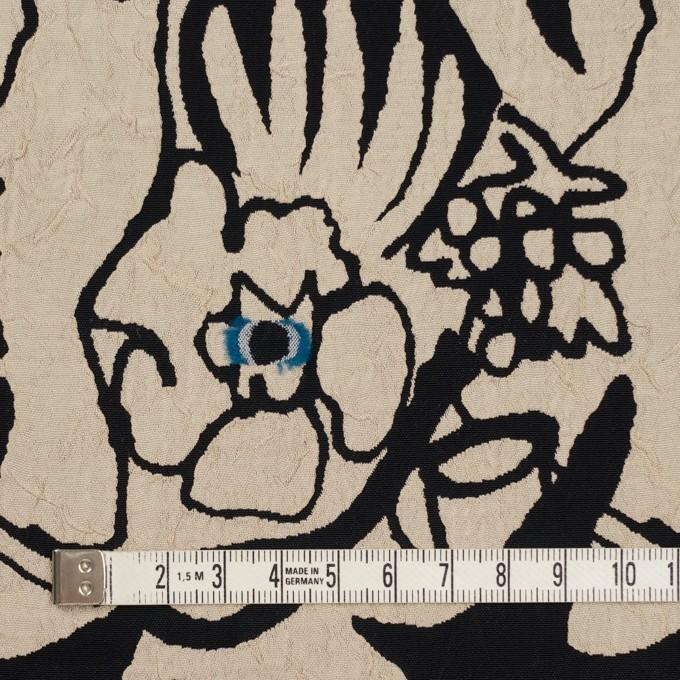 レーヨン&アセテート混×幾何学模様(キナリ&ブラック)×風通織カットジャガード イメージ4