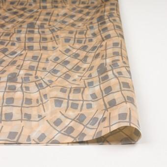 コットン&キュプラ混×幾何学模様(ネープルス&グレー)×サテン_イタリア製 サムネイル3