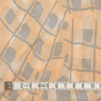 コットン&キュプラ混×幾何学模様(ネープルス&グレー)×サテン_イタリア製 サムネイル4