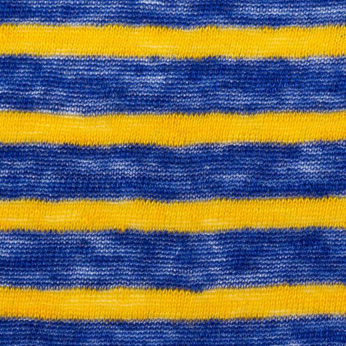 リネン×ボーダー(サンフラワー&マリンブルー)×天竺ニット イメージ1