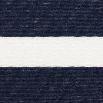 【150cmカット】コットン&リネン×ボーダー(オフホワイト&ダークネイビー)×天竺ニット