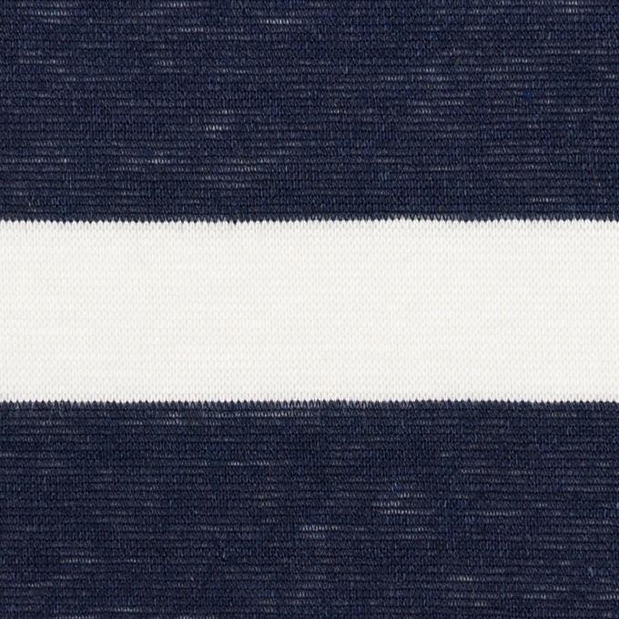 コットン&リネン×ボーダー(オフホワイト&ダークネイビー)×天竺ニット イメージ1
