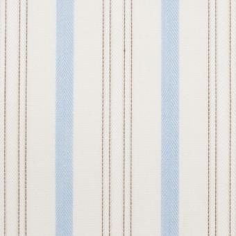 コットン×ストライプ(ペールブルー&ブラウン)×ブロードジャガード サムネイル1