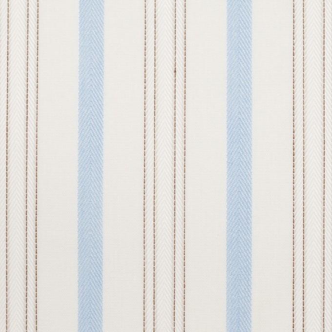 コットン×ストライプ(ペールブルー&ブラウン)×ブロードジャガード イメージ1
