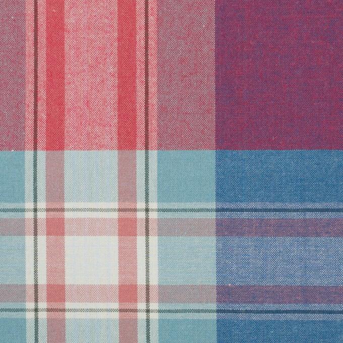 コットン×チェック(ブルーグレー&レッド)×ブロード イメージ1