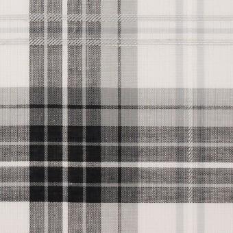 【150cmカット】コットン&ナイロン×チェック(グレー&ブラック)×ボイルジャガード