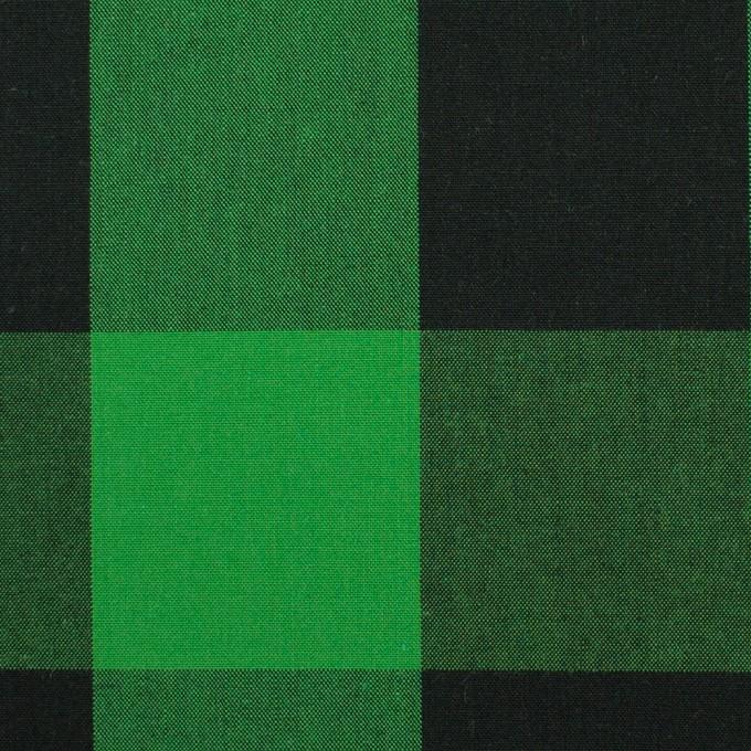 コットン×チェック(グリーン&ブラック)×高密ブロード イメージ1