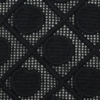 コットン×幾何学模様(ブラック)×ケミカルレース サムネイル1