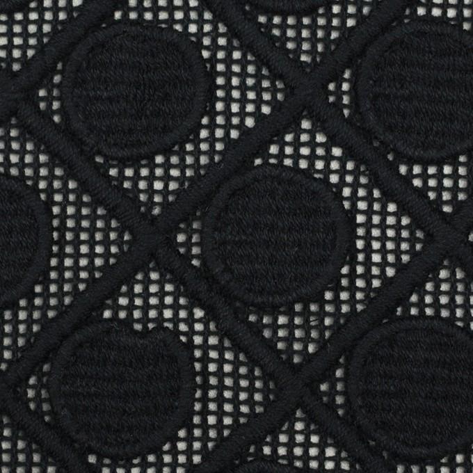 コットン×幾何学模様(ブラック)×ケミカルレース イメージ1