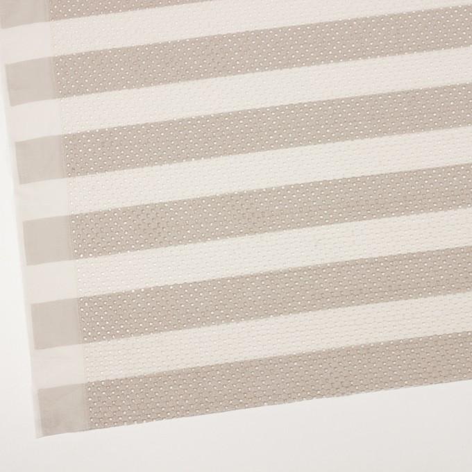 コットン×ボーダー(キナリ&ベージュ)×ローン刺繍 イメージ2