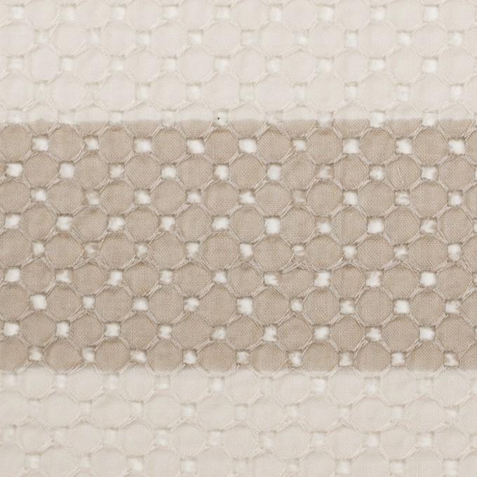 コットン×ボーダー(キナリ&ベージュ)×ローン刺繍 イメージ1