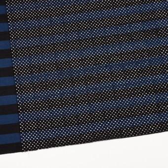 コットン×ボーダー(ネイビー&ブラック)×ローン刺繍 サムネイル2