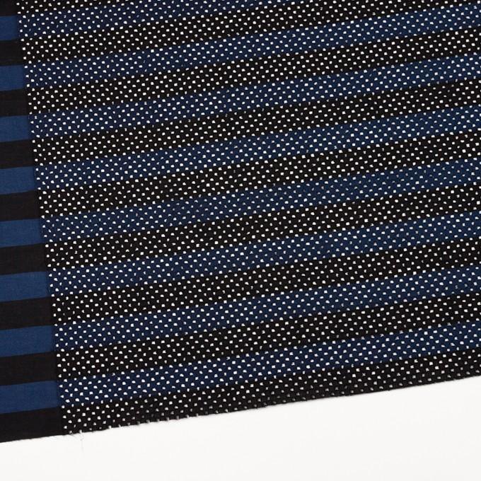 コットン×ボーダー(ネイビー&ブラック)×ローン刺繍 イメージ2