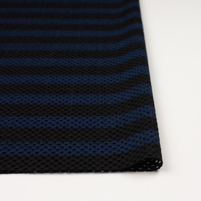 コットン×ボーダー(ネイビー&ブラック)×ローン刺繍 イメージ3