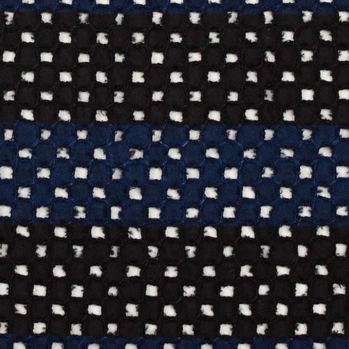 コットン×ボーダー(ネイビー&ブラック)×ローン刺繍 イメージ1