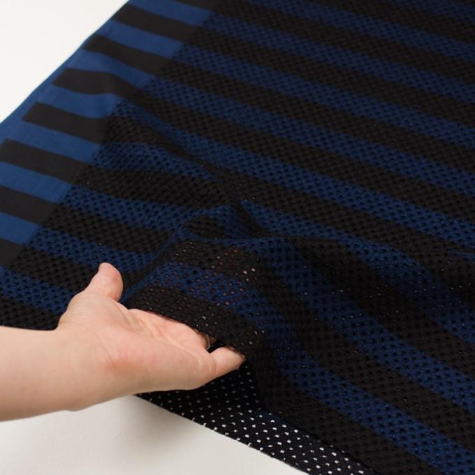 コットン×ボーダー(ネイビー&ブラック)×ローン刺繍 イメージ5