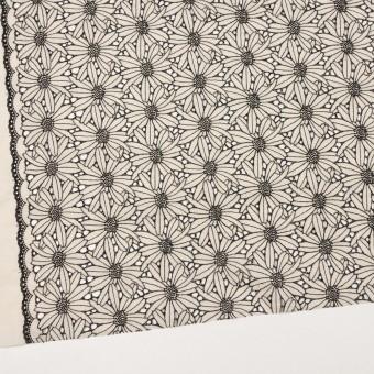 コットン×フラワー(キナリ&ブラック)×ローン刺繍 サムネイル2