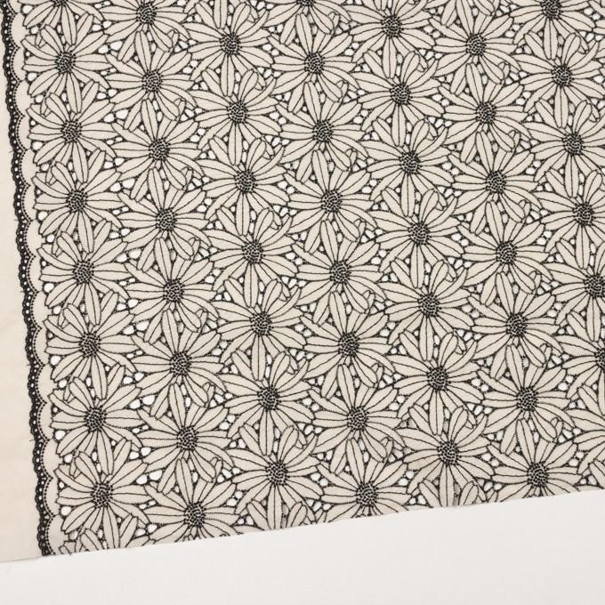 コットン×フラワー(キナリ&ブラック)×ローン刺繍 イメージ2