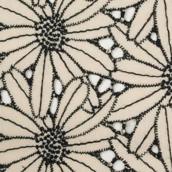 コットン×フラワー(キナリ&ブラック)×ローン刺繍 サムネイル1